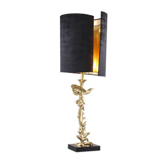 Contemporary glamorous polished brass table lamp with curled black lampshade by Eichholtz