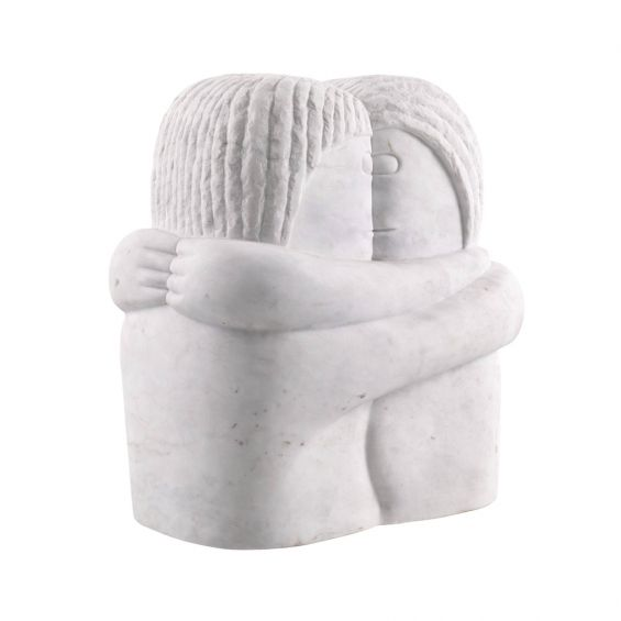 White marble couple in love hugging decorative object