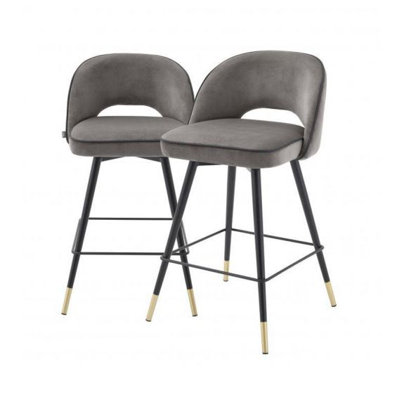 Grey velvet set of 2 bar stools with black faux leather piping and golden accents