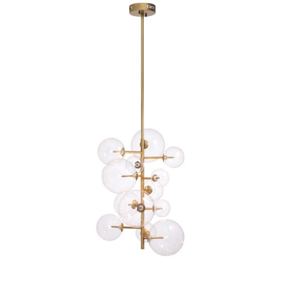 Contemporary vintage antique brass chandelier with glass globes by Eichholtz