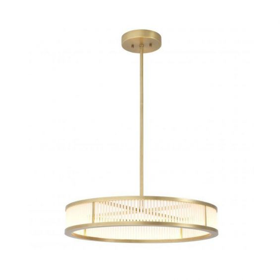 A stunning antique brass chandelier with frosted glass