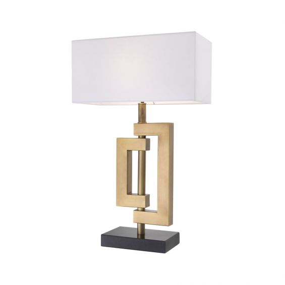 Eichholtz geometric style table lamp in an antique brass finish with a white rectangular shade on granite base