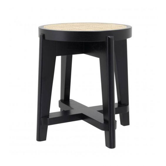 A Scandinavian inspired stool with rattan webbing and a painted black finish