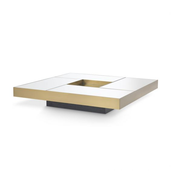 Luxurious Eichholtz brass coffee table with mirrored surface