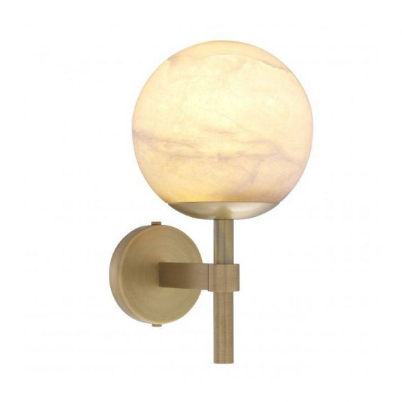 A luxurious antique brass wall lamp with an elegant, alabaster shade