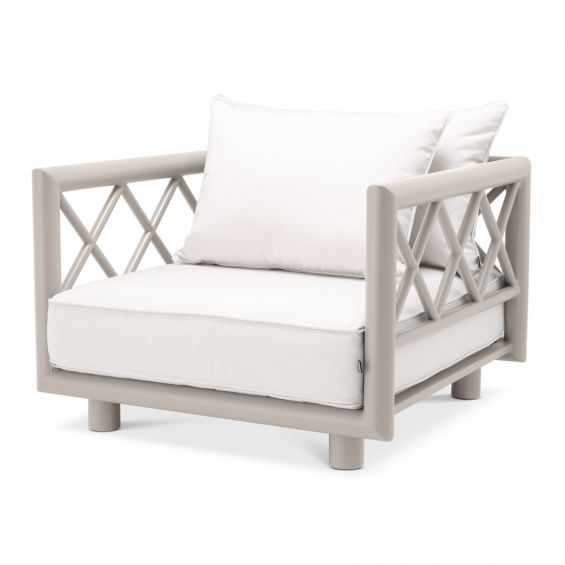 Contemporary greige outdoor armchair with neutral-toned seat cushion by Eichholtz