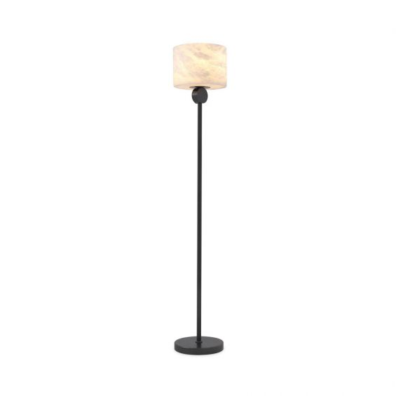 A fabulous bronze floor standing lamp with an alabaster lampshade