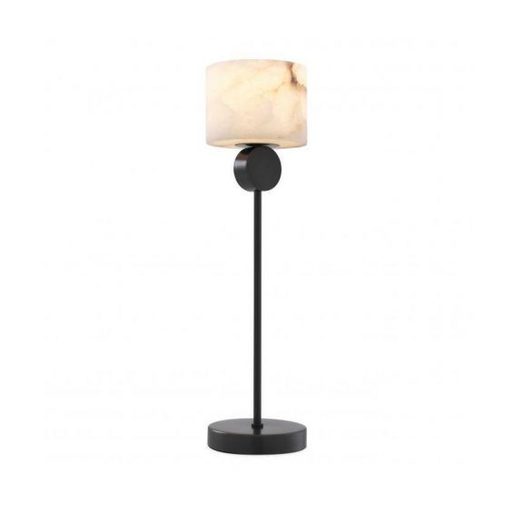 A stylishly elegant bronze table lamp with an alabaster lampshade