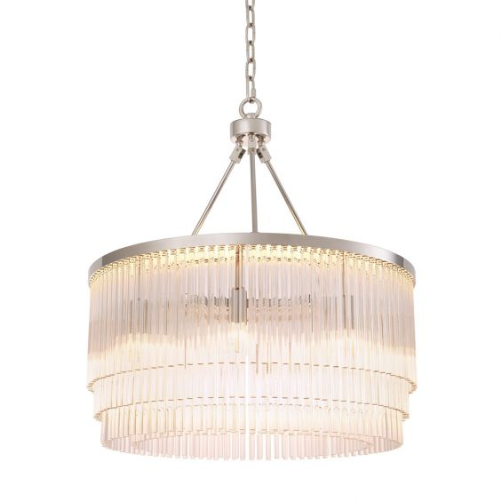 Luxurious nickel framed chandelier with multiple clear glass rod tiers