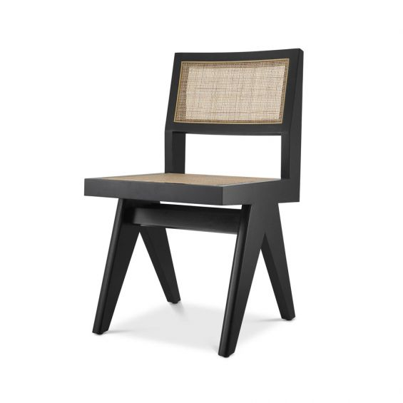 A gorgeous classic black rattan dining chair