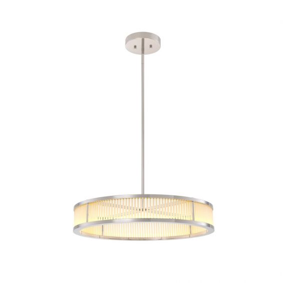 A beautiful nickel-finished chandelier with frosted glass