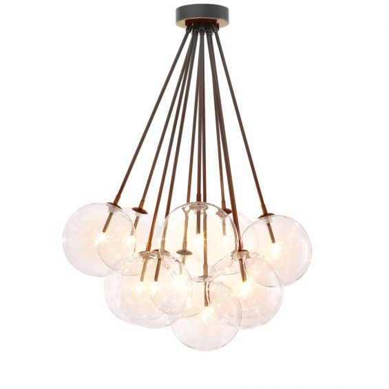 Eichholtz luxurious bronzed highlight finish ceiling lamp with multiple hanging clear glass globe lampshades