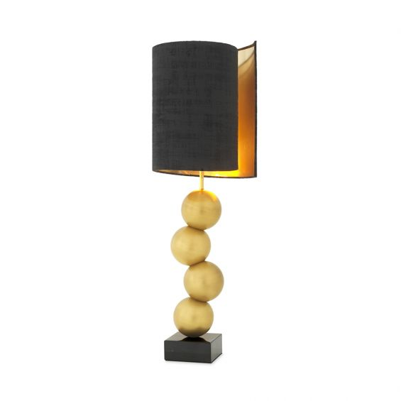 Glamorous modern antique brass table lamp on a black marble base with black shade