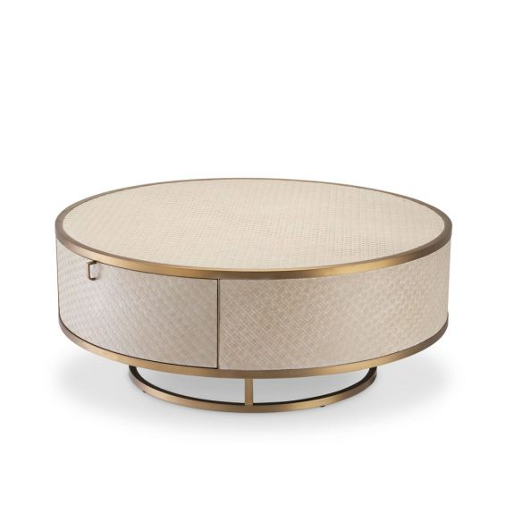 A luxurious washed oak veneer coffee table with a brushed brass frame