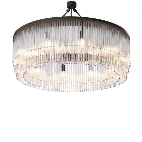 Eichholtz luxurious round chandelier with multiple clear glass rod tiers held by a bronzed iron frame