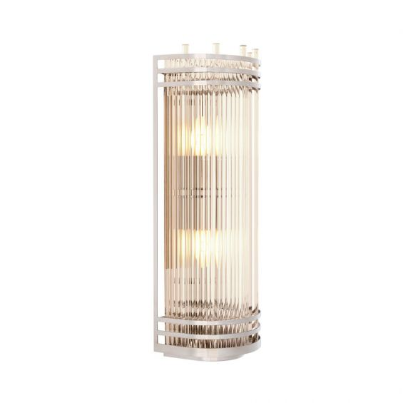 A stunning nickel and clear glass wall lamp