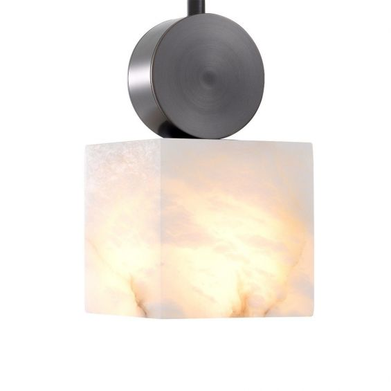 A luxurious bronze and alabaster ceiling lamp