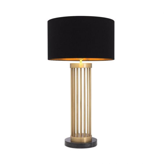 Luxurious Eichholtz antique brass table lamp with black marble base