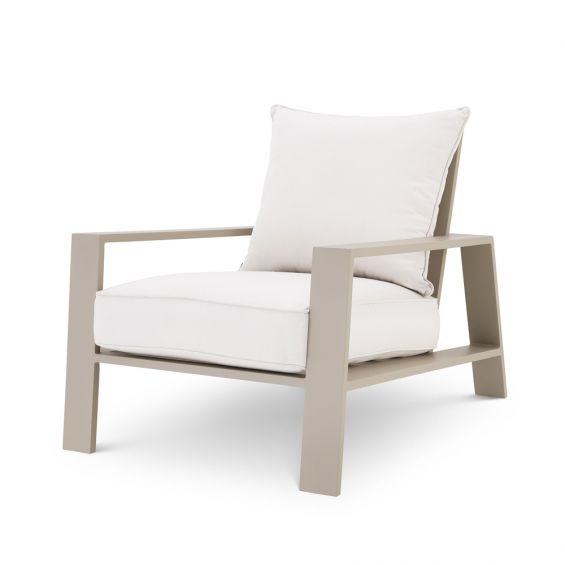 A stunning natural and sand-coloured outdoor lounge chair