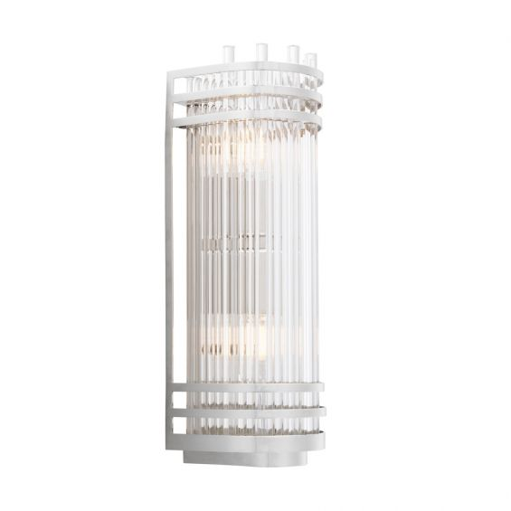 Glamorous Eichholtz nickel finish and clear glass wall lamp