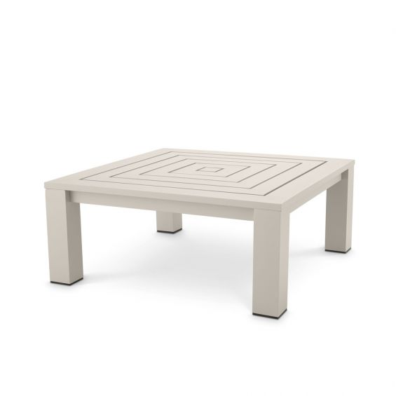A fashionable and functional sand-coloured coffee table