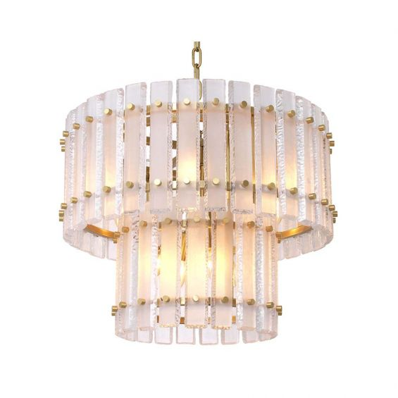 A luxurious, two-tiered Eichholtz chandelier with a frosted glass and brass finish