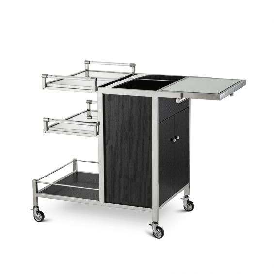 A chic and sophisticated black and nickel drinks trolley