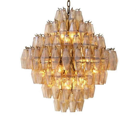 A gorgeous diamond shaped chandelier with antiqued brass and gold glass.