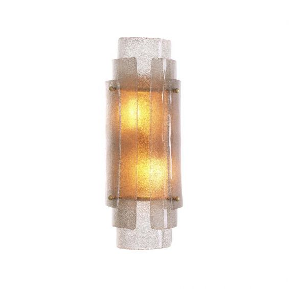 Gorgeous wall light made from hand blown glass with overlapping features.