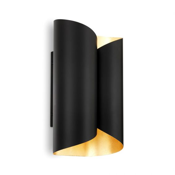A chic black and gold wall lamp