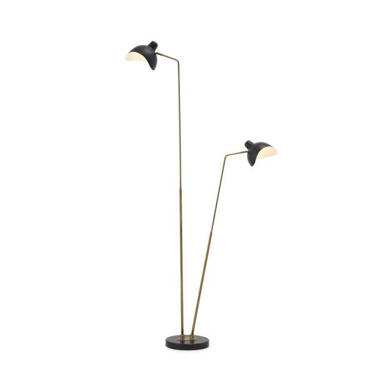 Flexible floor lamp in an antiqued brass finish.