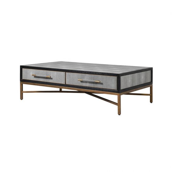 A fabulous grey faux shagreen coffee table with an antique brass bass and black and gold accents