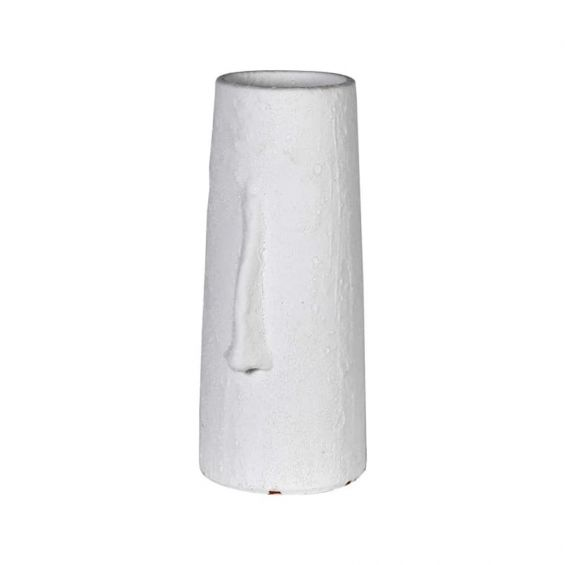 Tall white vase with nose design