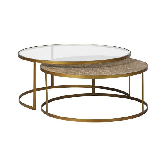 An exotic, elegant set of two rattan and glass coffee tables