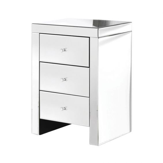 silver reflective side table with crystal-like handles