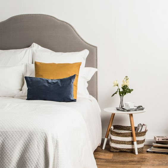 Luxury hotel white cotton bedspread with contemporary geometric pattern