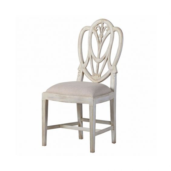 A luxurious brushed white Gustavian dining chair with a linen seat
