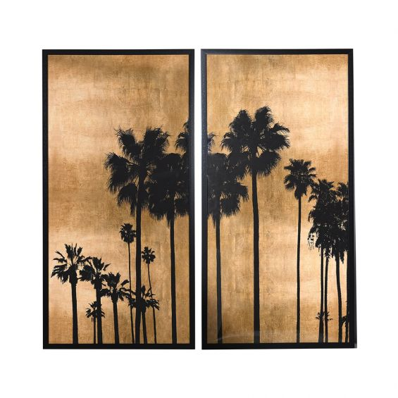 A fabulous set of 2 prints of palm trees at sunset