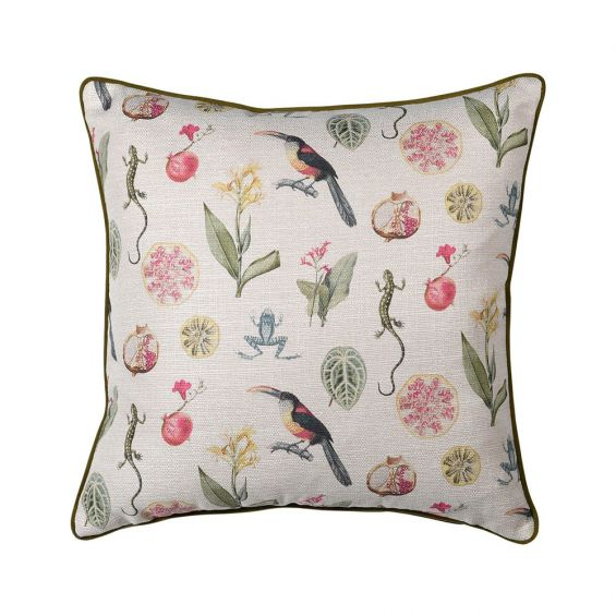 A fabulous botanical cushion with detailed illustrations of plants, fruits and wildlife
