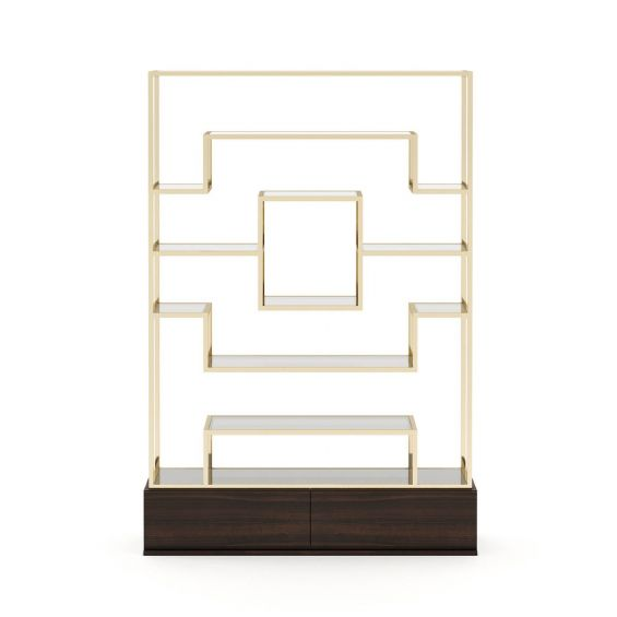 A stylish gold shelving unit with a eucalyptus base with concealed drawers