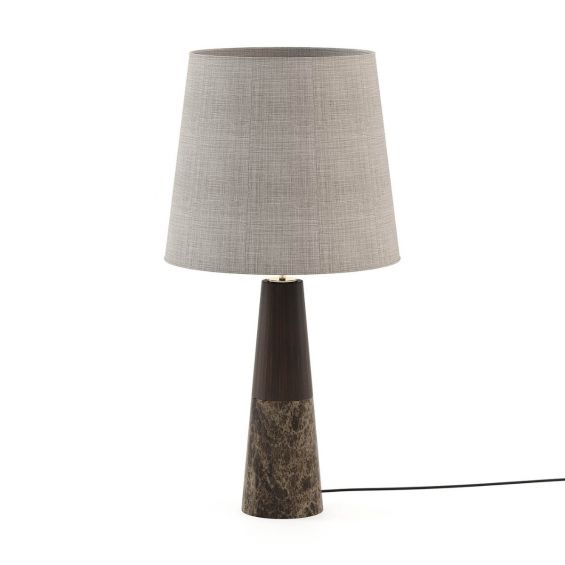 Dark wood and marble base table lamp with grey shade