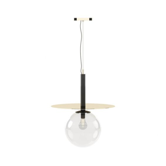 Metal structure ceiling lamp with large pendant