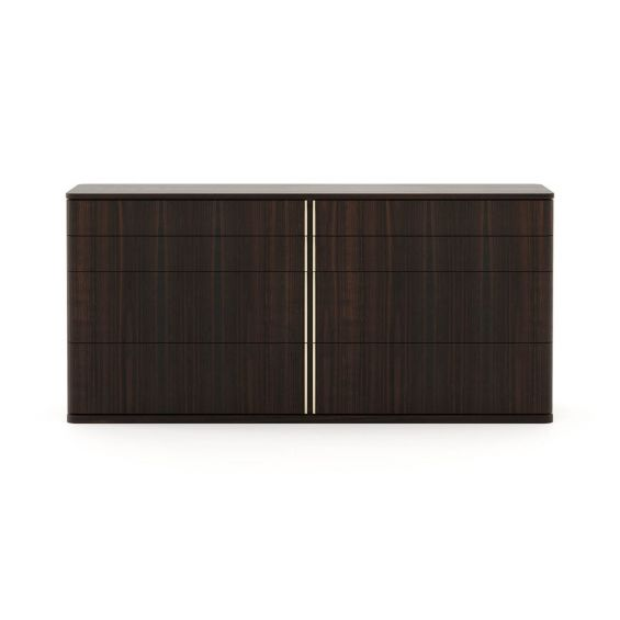 A luxurious smoked eucalyptus chest of drawers with metal accents and 8 drawers