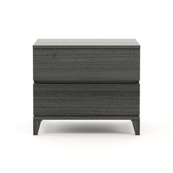 A chic, contemporary matte grey beside table with two drawers