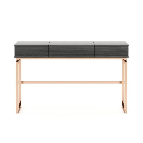 A gorgeous matte grey dressing table with a dazzling, copper base
