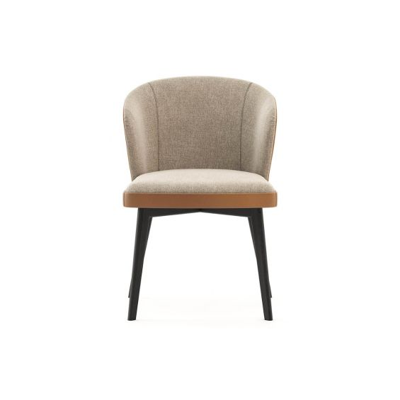 A luxurious dining chair with a caramel, leather back by Laskasas