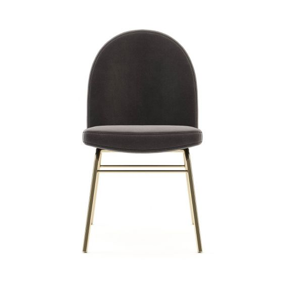 A classic contemporary dining chair with velvet upholstery and a golden base. Pictured in Vienna Anthracite.