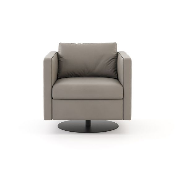 A chic leather armchair with a cushioned backrest and round, iron base