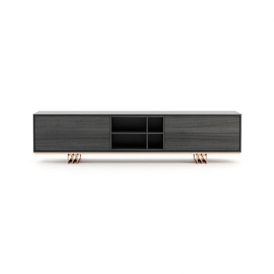 A modern grey TV cabinet with a copper-painted stainless steel base