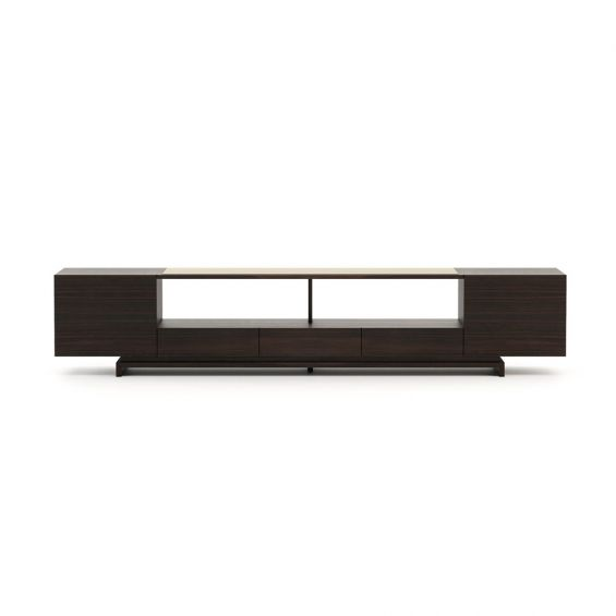 A sophisticated smoked eucalyptus wood storage unit entertainment system